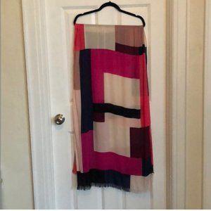 kate spade pink black white colorblock scarf nwot